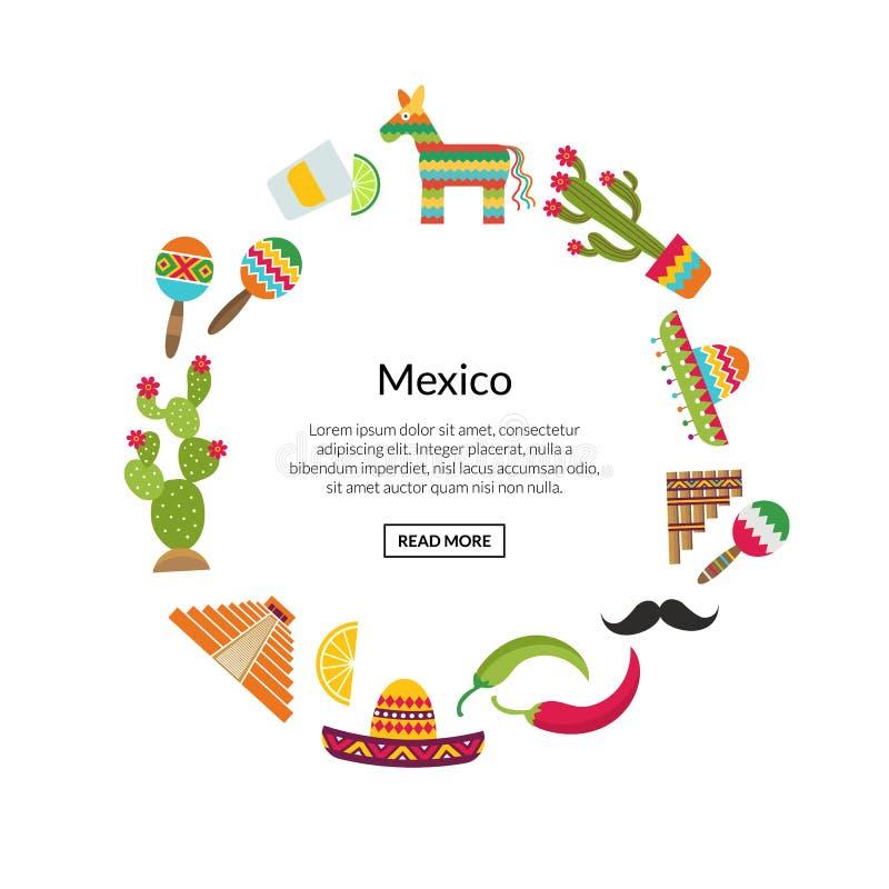 Vektor flaches Mexiko schreibt in der Kreisform zu vektor abbildung
