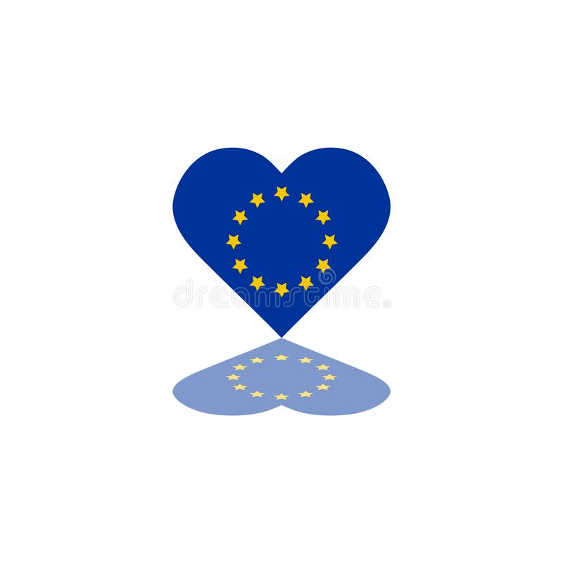 Vektor-Flagge der Europäischen Gemeinschaft innerhalb Illustrations-Schablonenentwurfs Element der Herzform des grafischen stock abbildung