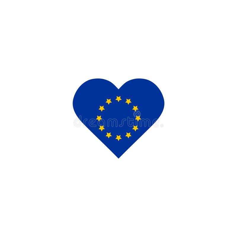 Vektor-Flagge der Europ?ischen Gemeinschaft innerhalb Illustrations-Schablonenentwurfs Element der Herzform des grafischen stock abbildung