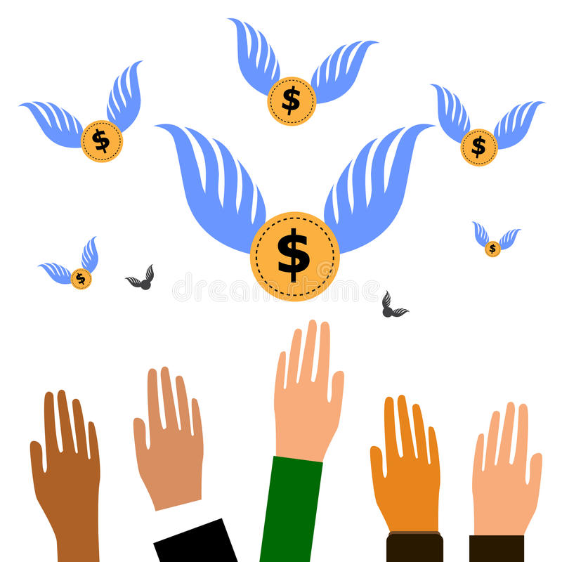 Vektor flera händer som ut når för att fånga att flyga det Bitcoin valutamyntet med vingar royaltyfri illustrationer