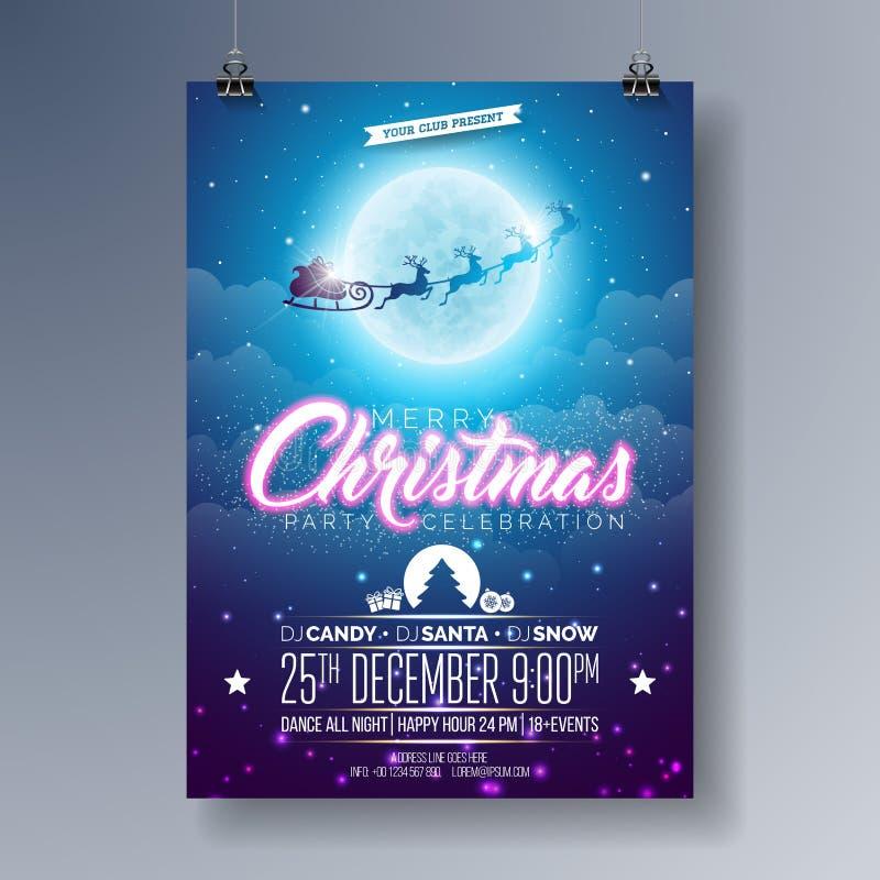 Vektor-fröhliche Weihnachtsfest-Flieger-Illustration mit dem Fliegen von Sankt lizenzfreie abbildung