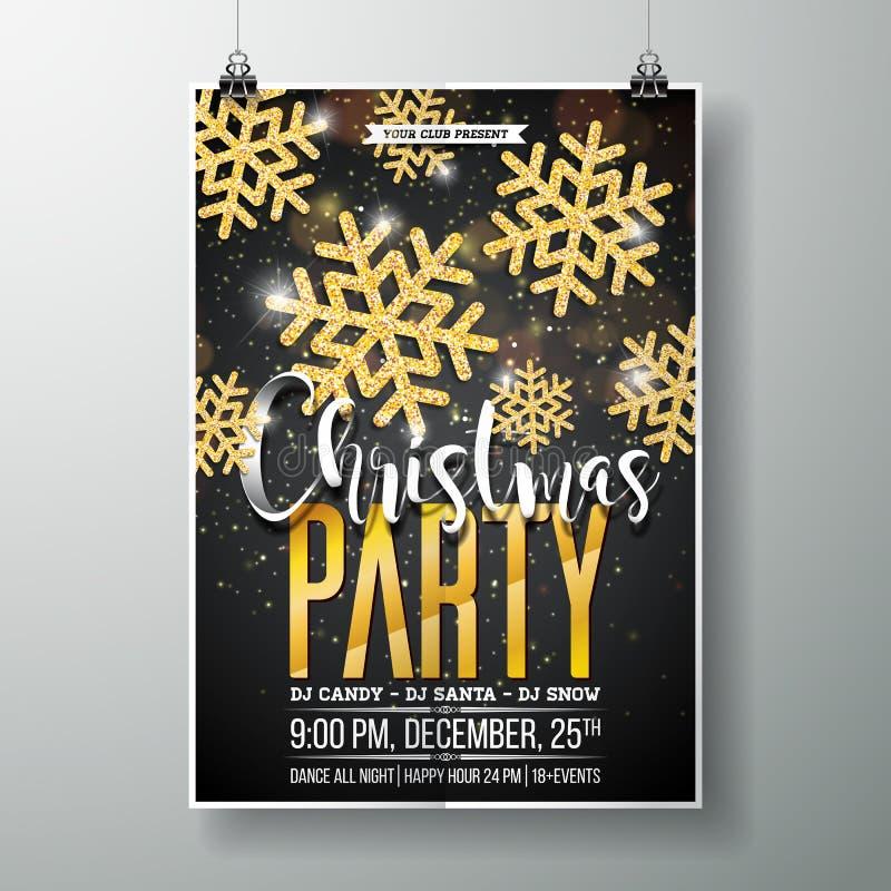 Vektor-fröhliche Weihnachtsfest-Plakat-Design-Schablone mit Feiertags-Typografie stock abbildung