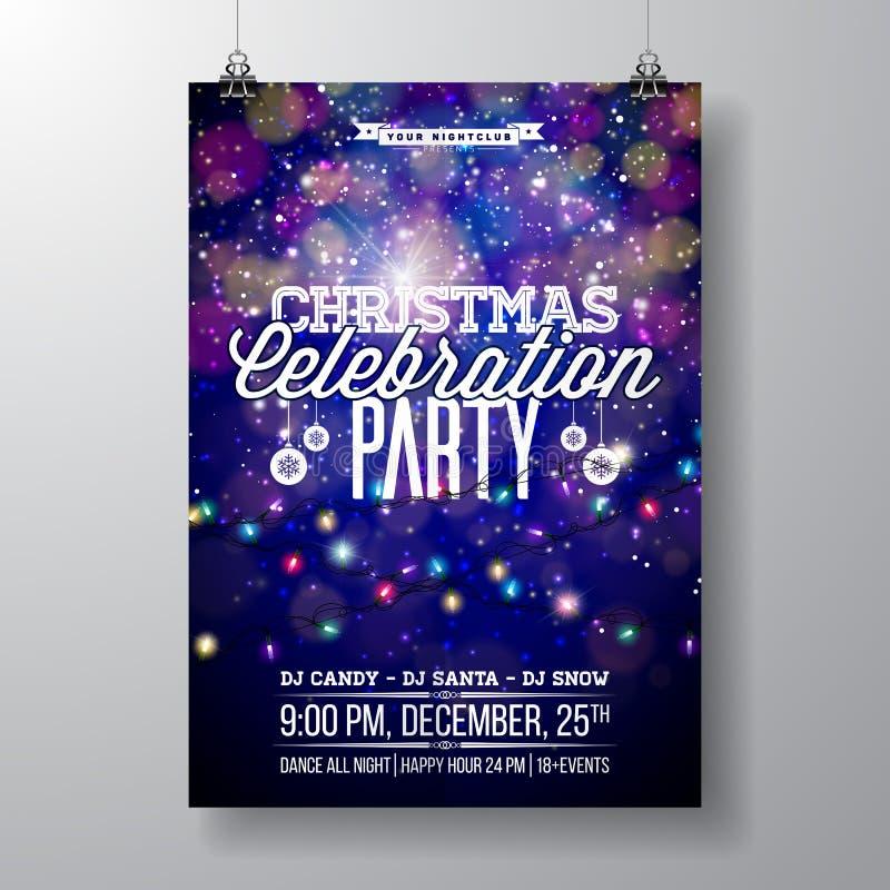 Vektor-fröhliches Weihnachtsfest-Design mit Feiertags-Typografie-Elementen und heller Girlande auf glänzendem Hintergrund feier stock abbildung