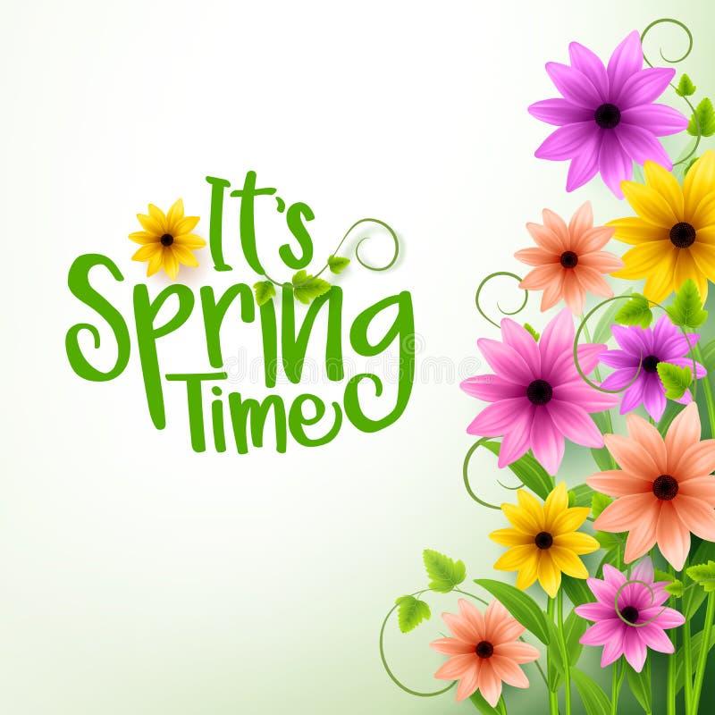 Vektor-Frühlings-Zeit-Text im weißen Hintergrund mit Blumen lizenzfreie abbildung