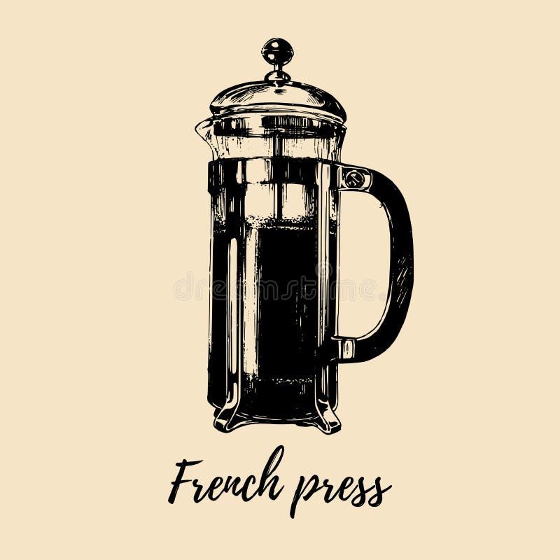 Vektor-Franzose-Presseillustration Übergeben Sie skizzierten Glastopf für das alternative Kaffeebrauen Café, Restaurantmenüdesign stock abbildung