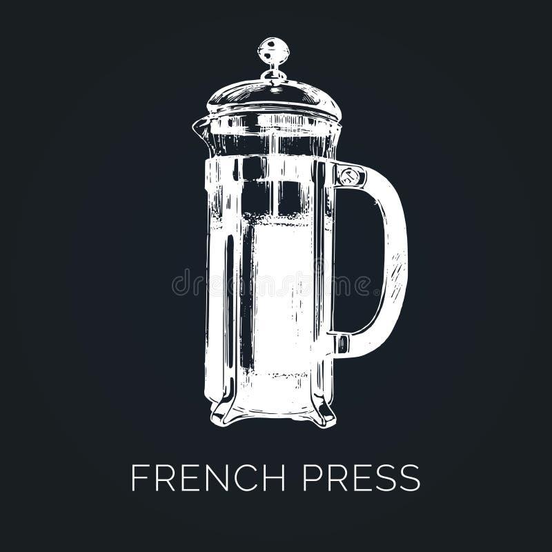 Vektor-Franzose-Presseillustration Übergeben Sie skizzierten Glastopf für das alternative Kaffeebrauen Café, Restaurantmenüdesign vektor abbildung