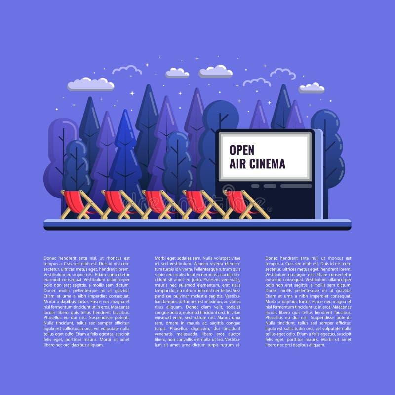 Vektor-Freilicht-Kino-flache Illustration mit Stühlen und Nacht im Freien vektor abbildung