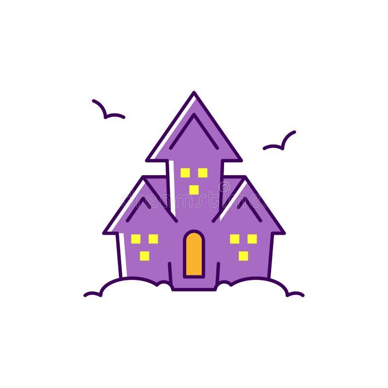 Vektor frequentiertes Haus Bunte flache Halloween-Ikone, dünne Linie Kunstdesign, Vektorillustration stock abbildung