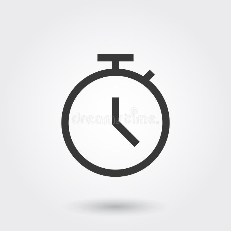Vektor, Frist, Zeit, Uhr, Uhr, Linie Ikone mit Schatten stock abbildung