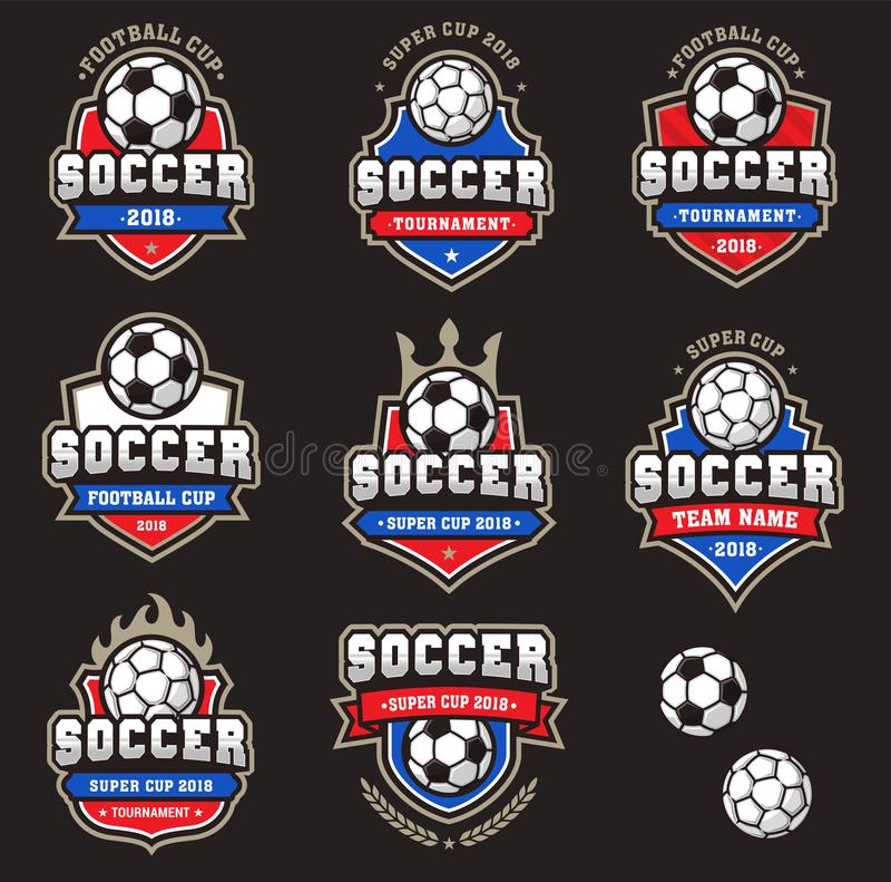 Vektor-Fußball-Fußball-Logos stock abbildung