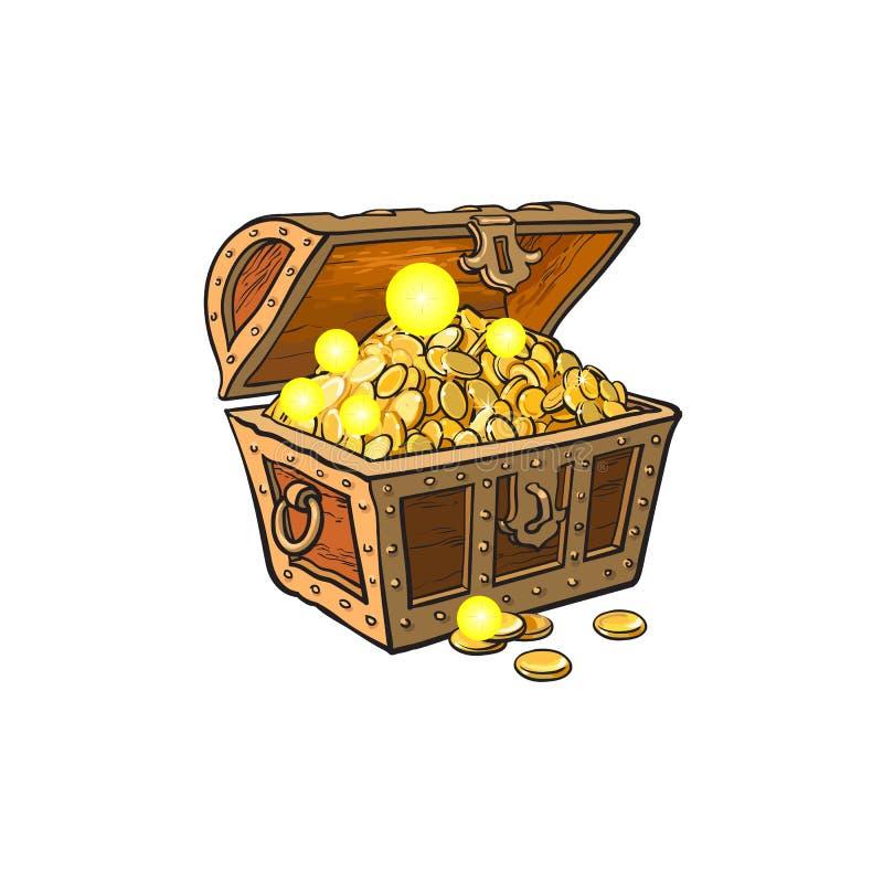 Vektor geöffnete Schatztruhe voll von goldenen Münzen lizenzfreie abbildung