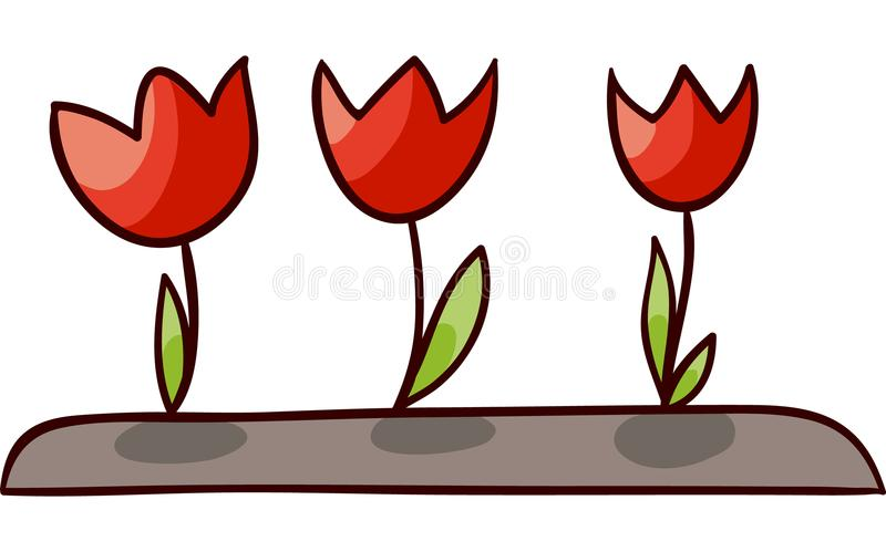 Vektor geöffnete Tulpen lokalisierten Illustration stock abbildung