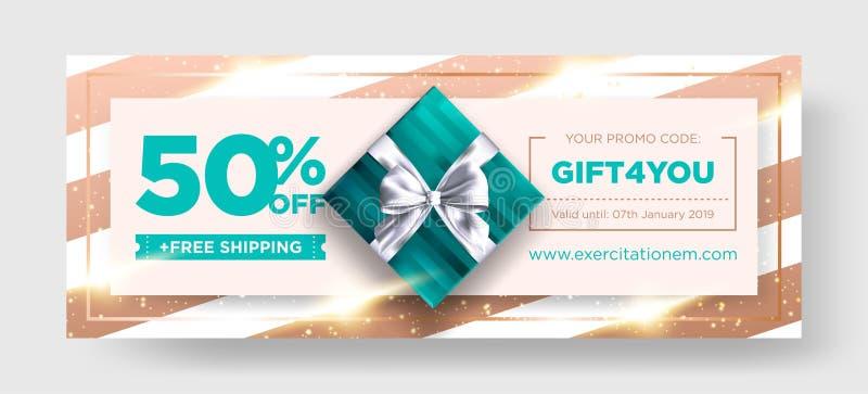 Vektor-Geburtstags-Geschenk-Kupon Eleganter Weihnachtsbeleg-Entwurf vektor abbildung