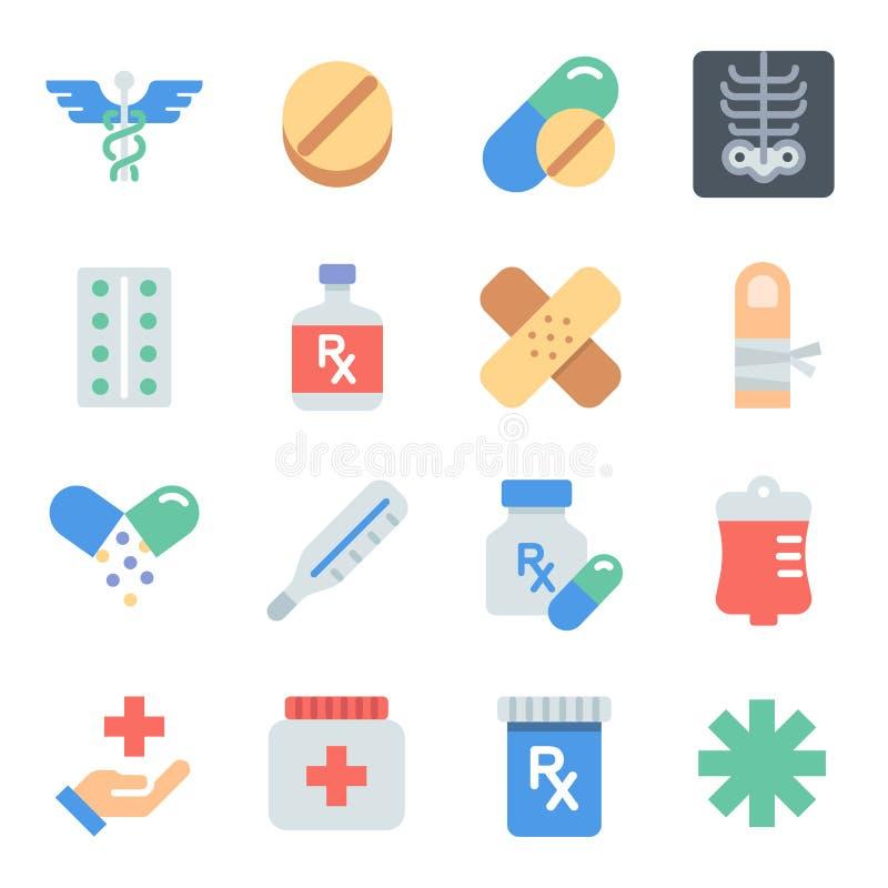 Vektor gefüllter Farbikonen-Satz Enthält solche Ikonen wie Pillen, Tablet, Schmerzmittel, Aspirin, Gesundheit und mehr lizenzfreie abbildung