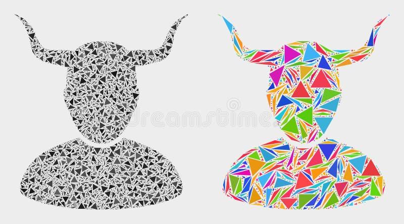 Vektor-gehörnte Benutzer-Mosaik-Ikone von Dreieck-Elementen stock abbildung