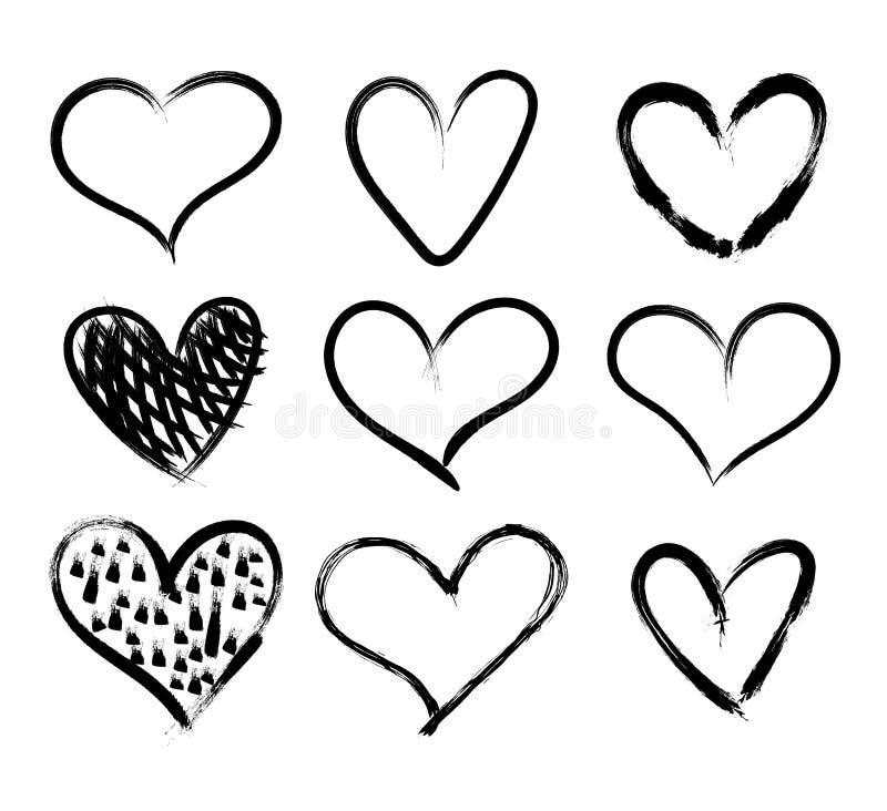 Vektor-Gekritzel-Handgezogener Herz-Satz, schwarze Markierungs-Zeichnungen lokalisiert auf weißem Hintergrund, grobe Entwürfe vektor abbildung