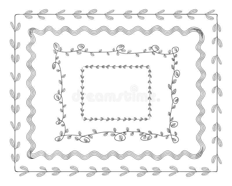 Vektor-Gekritzel-Rahmen eingestellt lokalisiert auf weißem Hintergrund, nette Illustration Tamplate, Grenzen lizenzfreie abbildung