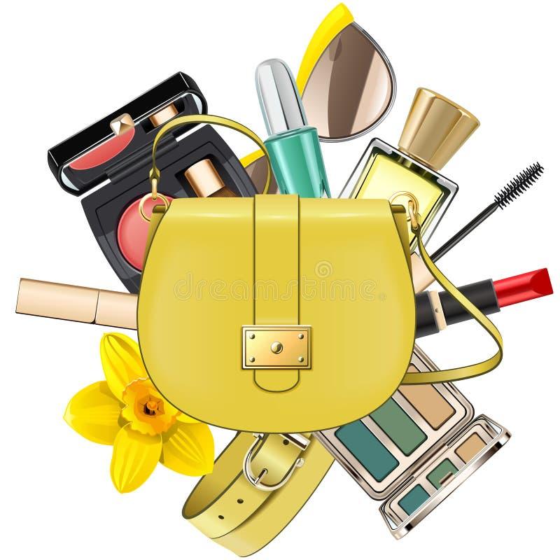 Vektor-gelbes Mode-Accessoire-Konzept stock abbildung
