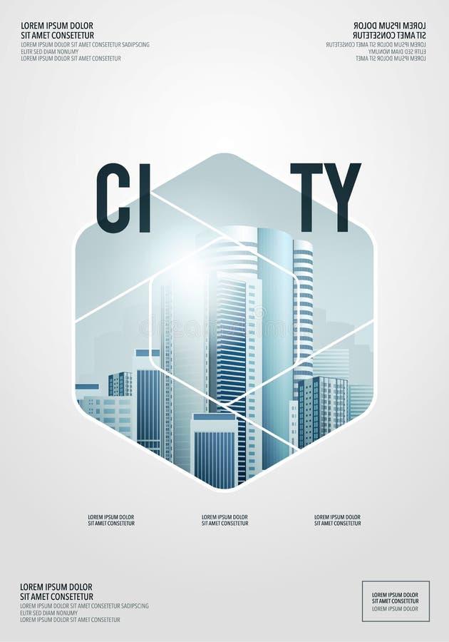 Vektor-geometrischer abstrakter moderner Stadt-Hintergrund-Schablonen-Entwurf für Broschüre, Flieger, Geschäfts-Bucheinband, Jahr vektor abbildung