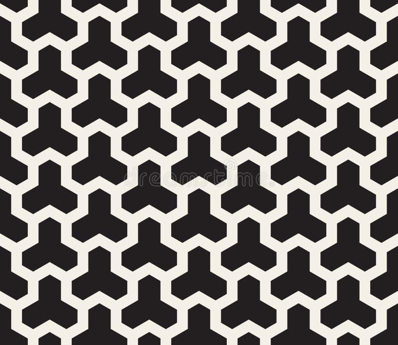 Vektor-gerundetes sechseckiges Dreiheits-Gitter-geometrisches Schwarzweiss-Muster vektor abbildung