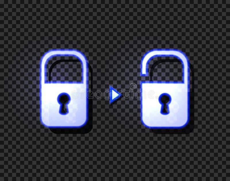 Vektor-geschlossene und offene Neonverschlüsse, glühend auf dunkle transparente Hintergrund-Ikonen lizenzfreie abbildung