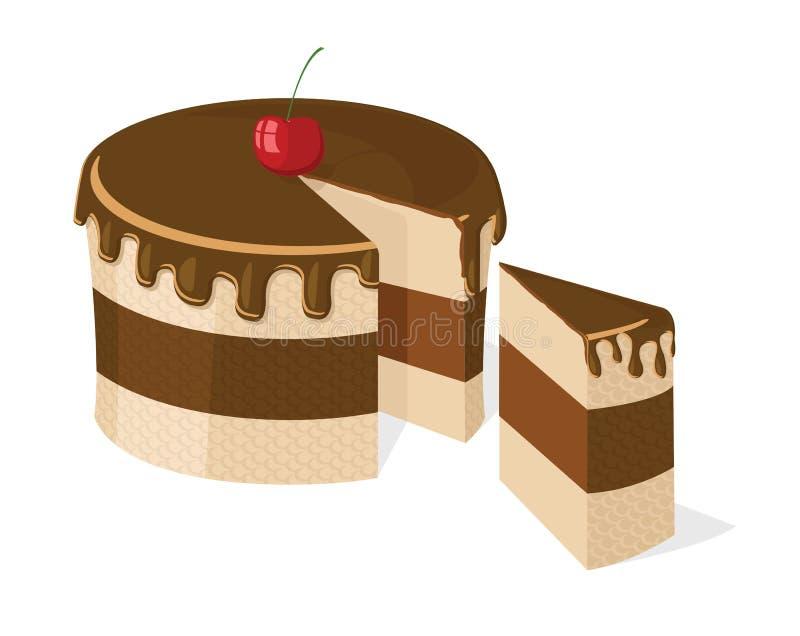 Vektor geschnittener Schokoladenkuchen vektor abbildung