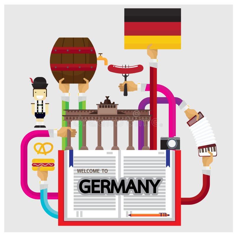 Vektor-gesetzte Deutschland-Wurstfeiertagselementschloss-Gebäudetradition stock abbildung