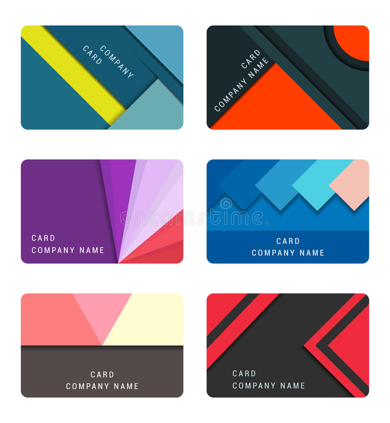 Vektor-gesetzte materielle Design-Karte und Fahnen lizenzfreie abbildung