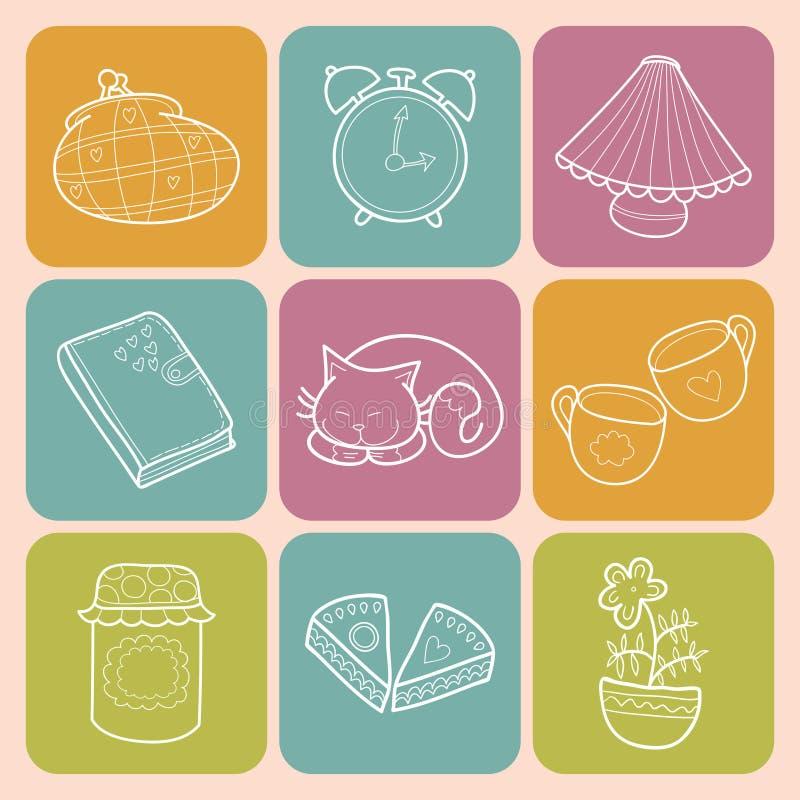 Vektor-gesetztes süßes Haus mit Designausgangselementen, netter Katze, Tasse Kaffee, Kuchen, Stau, Weckern und Tagebuch vektor abbildung