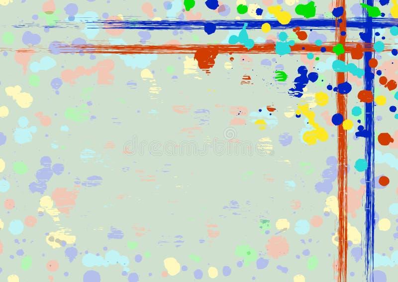 Vektor gezeichneter Hintergrund mit Rahmen, Grenze Schmutzschablone mit Spritzen, Sprayabreibung, Sprünge Im altem Stil Weinlesed lizenzfreie abbildung
