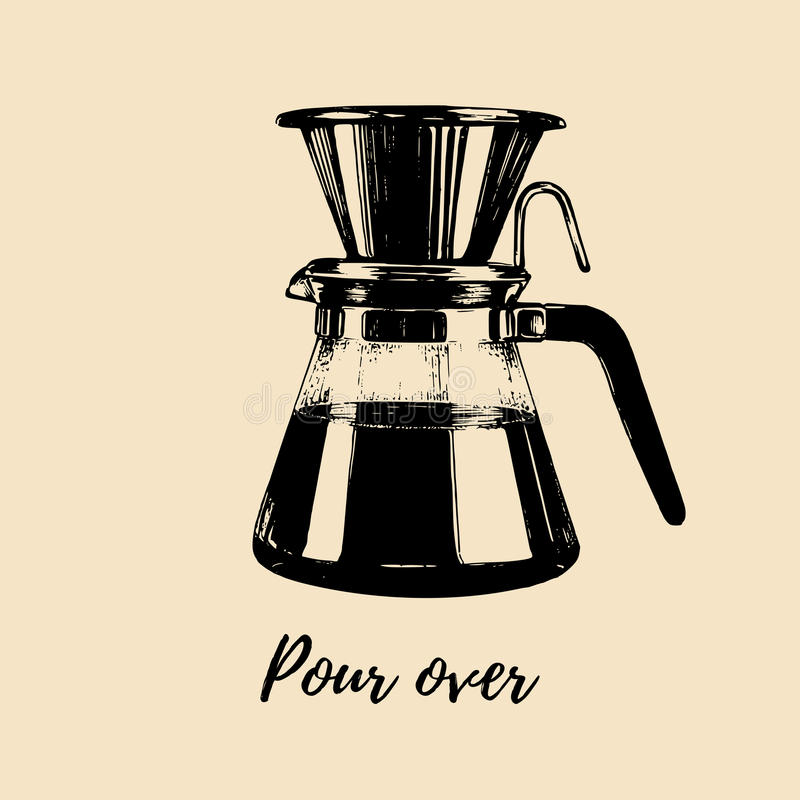 Vektor gießen über Kaffeeproduzentillustration Übergeben Sie skizzierten Dripper und Topf für alternatives Brauverfahren lizenzfreie abbildung