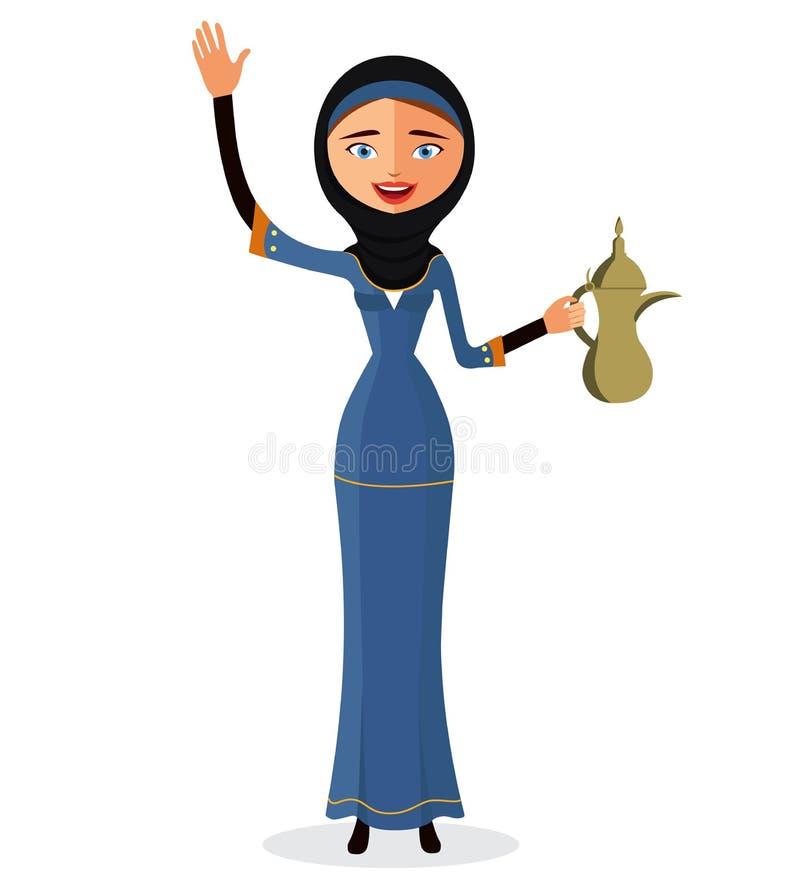 Vektor - glückliche arabische Frau, die einen arabischen Kaffeetopf hält und ihr Handisolat auf weißem Hintergrund wellenartig be lizenzfreie abbildung