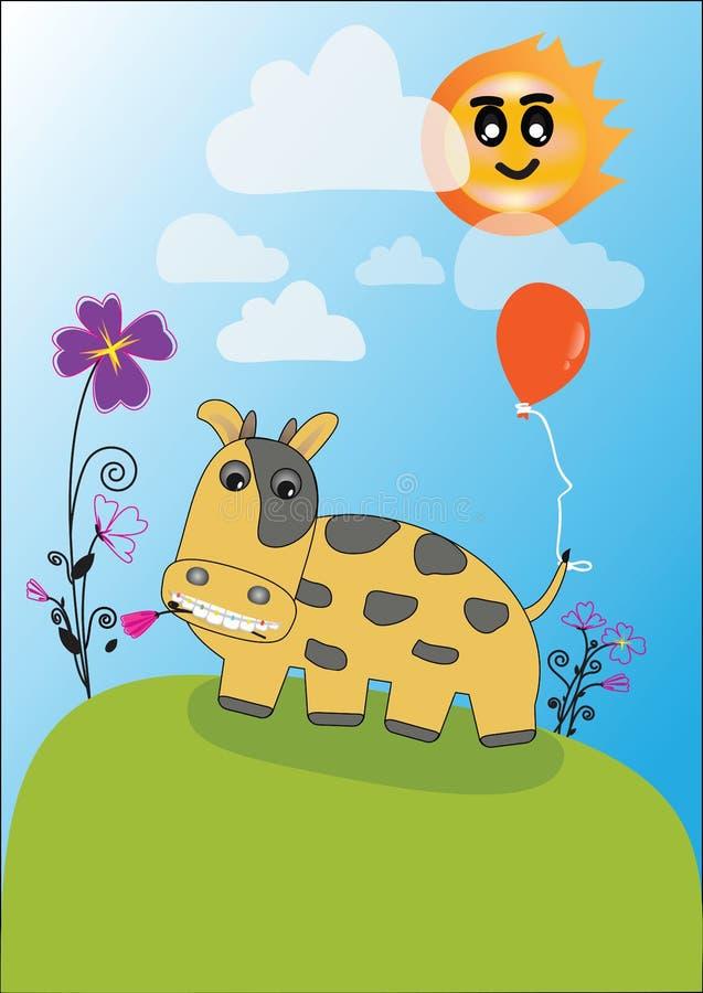 Vektor glückliche Kuh auf Weide vektor abbildung