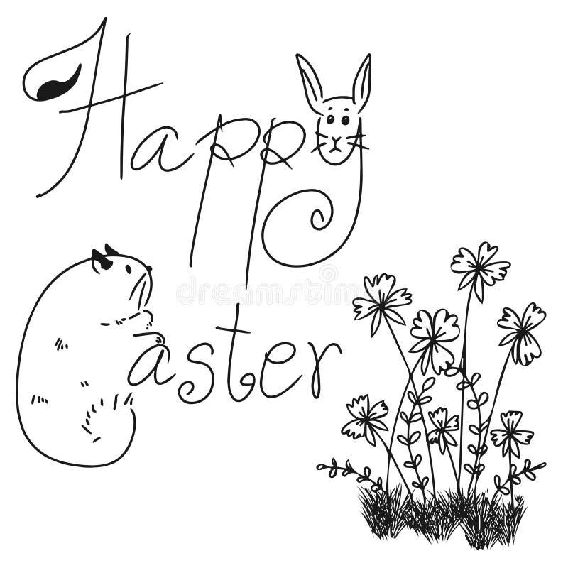 Vektor glücklichen Ostern-Wortes mit Blumengekritzel auf weißem Hintergrund stockfotografie