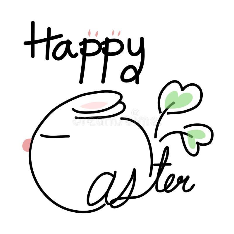 Vektor glücklichen Ostern-Wortes mit Blumengekritzel auf weißem Hintergrund stockfotos