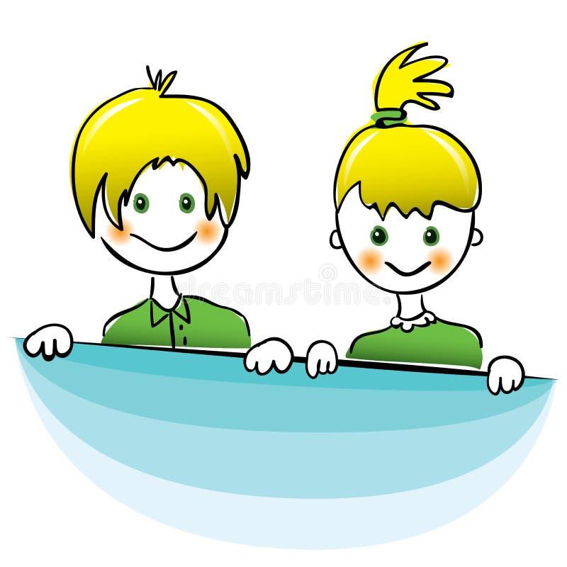 Vektor Glücklicher Junge und Mädchen mit dem hellen gelben Haar stock abbildung