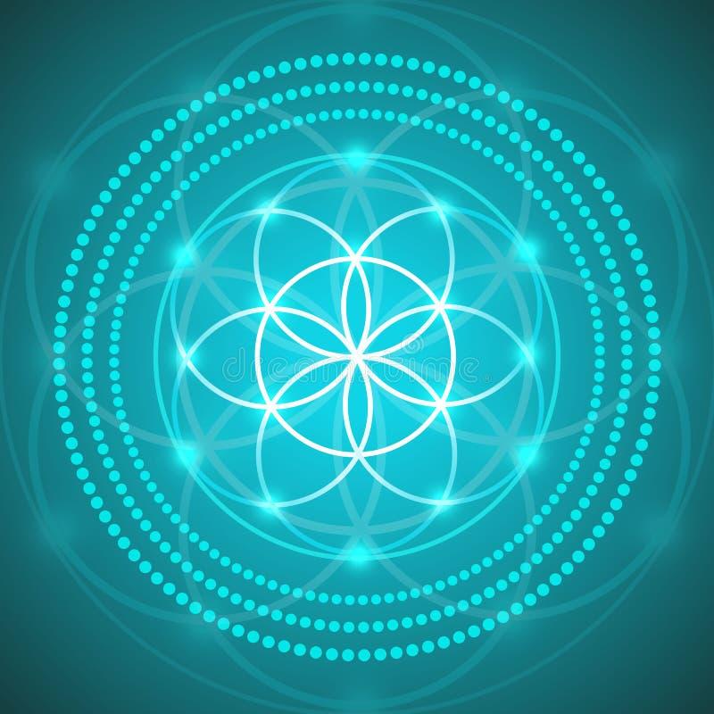 Vektor-glühende Blume der Leben-Symbol-Illustration vektor abbildung