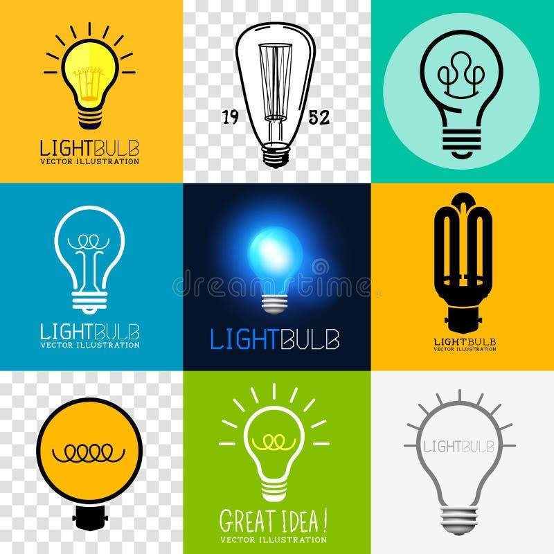 Vektor-Glühlampen-Sammlung stock abbildung