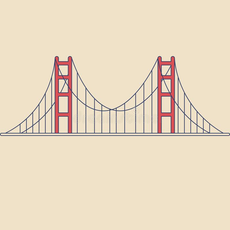 Vektor Golden gate bridge i modern plan stil på ljus bakgrund Affisch med Golden gate bridge vektor illustrationer