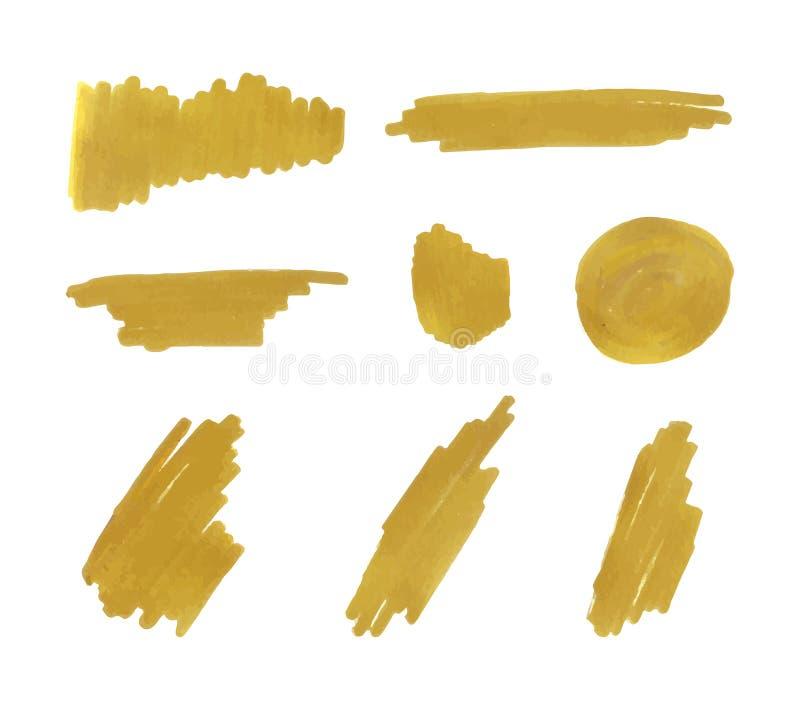 Vektor-goldene Markierungs-Anschläge eingestellt, Hintergrund-Goldfarbe lizenzfreie abbildung