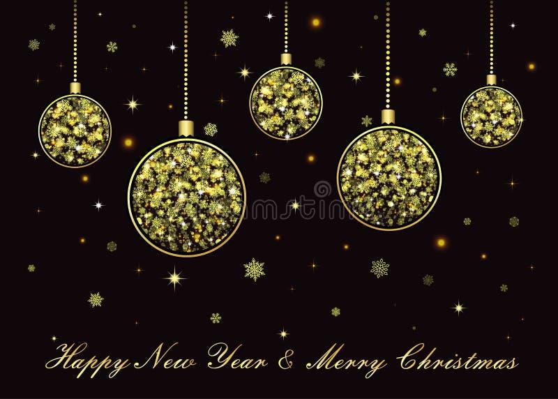 Vektor-goldene Weihnachtsbälle auf schwarzem Hintergrund vektor abbildung