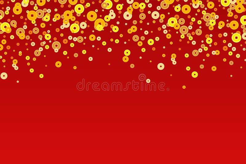 Vektor-goldenes Chinesisches Neujahrsfest prägt Hintergrund vektor abbildung