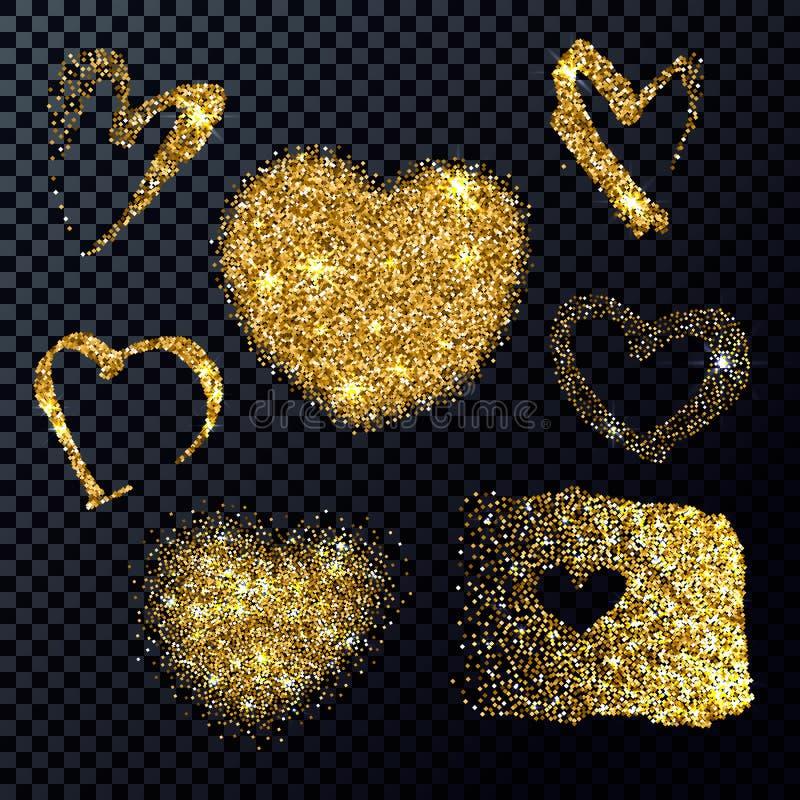 Vektor-Goldfunkeln-Herzen eingestellt Funkelnde Formen lizenzfreie abbildung