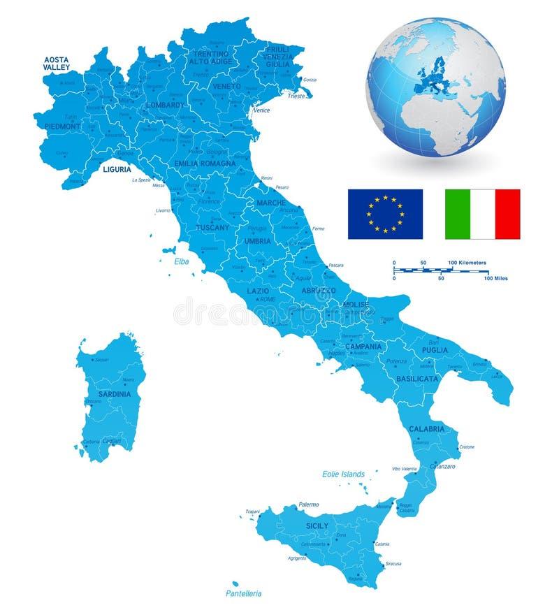 Vektor-grüne Karte von Italien lizenzfreie abbildung
