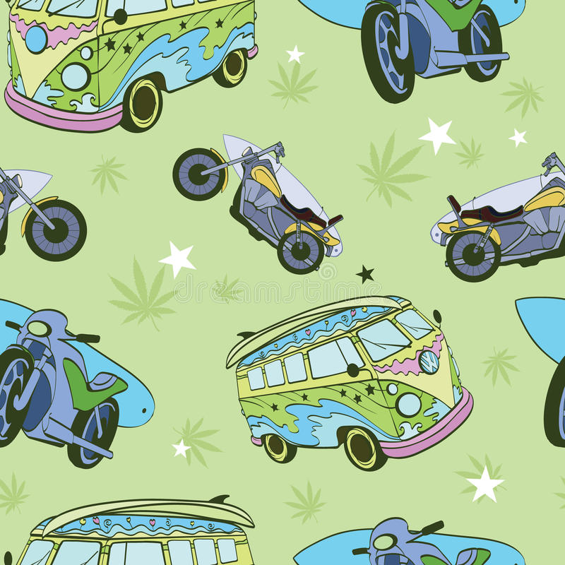 Vektor-grüne Surfbretter auf Hippie-Bus-Motorrädern vektor abbildung