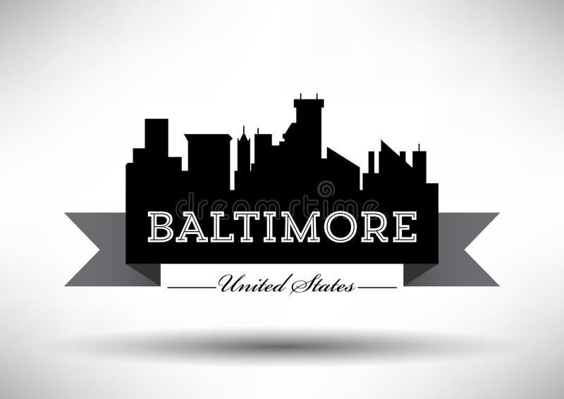 Vektor-Grafikdesign von Baltimore-Stadt-Skylinen lizenzfreie abbildung