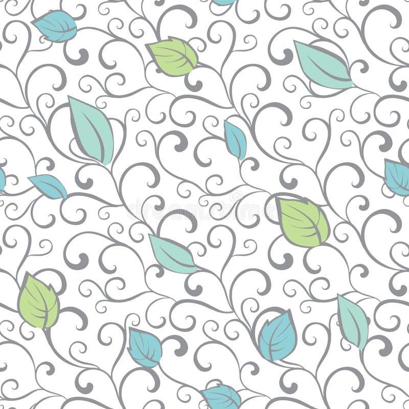 Vektor-Gray Green Blue Swirl Branches-Blätter vektor abbildung