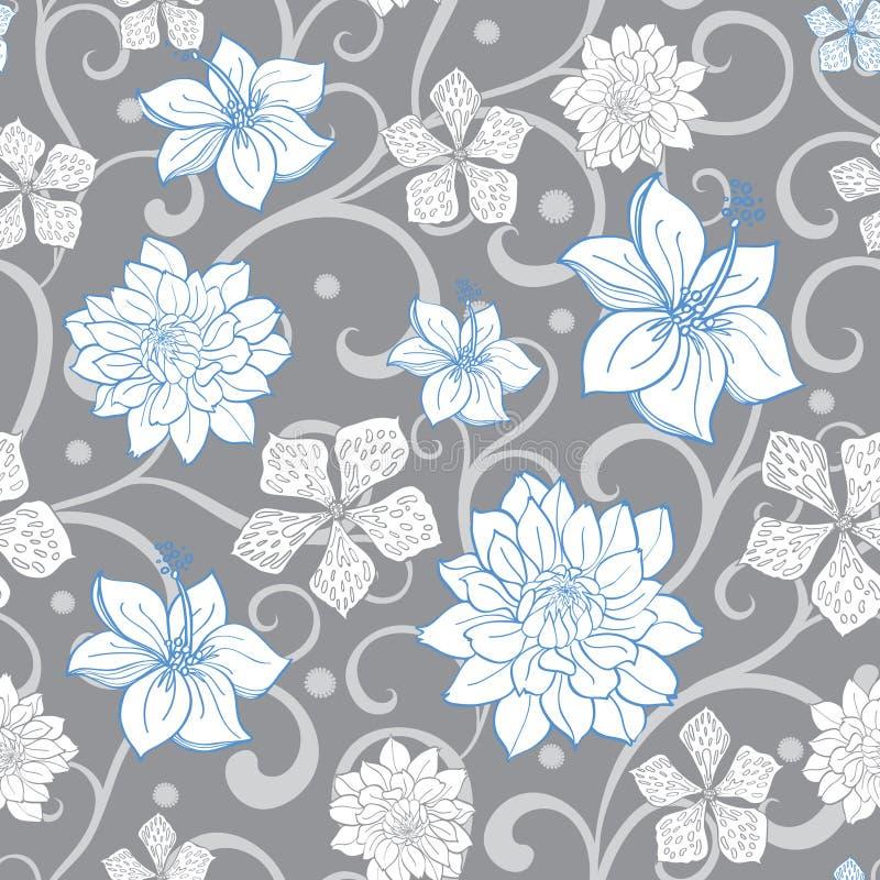 Vektor Gray Sky Blue Swirl Florals nahtlos vektor abbildung