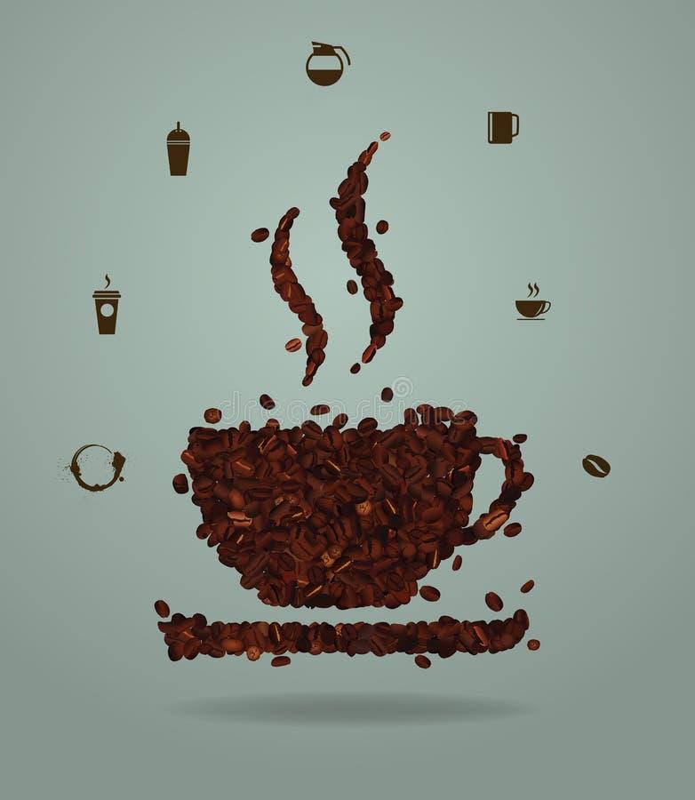 Vektor grillade kaffebönor som förläggas i formen av en kopp vektor illustrationer