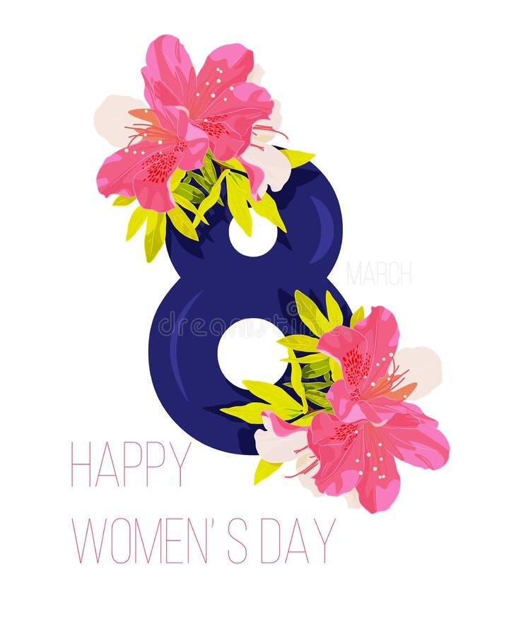 Vektor-Gruß-Karte des Tages der glücklichen Frauen lizenzfreie abbildung